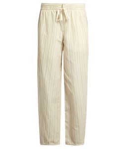 Loewe   Drawstring-Waist Striped Cotton-Blend Trousers