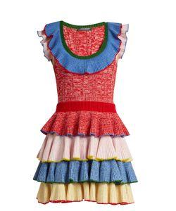 Alexander McQueen   Tie-Ruffle Knitted Mini Dress