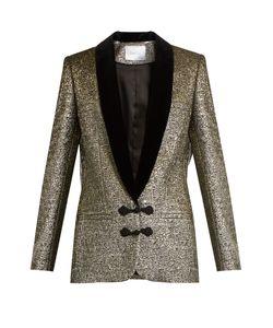 Racil | Draco Velvet-Lapel Metallic-Brocade Jacket