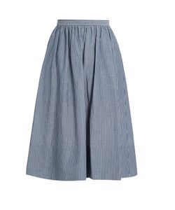 Vince | Striped Cotton Skirt