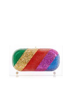 Sarah's Bag   Rainbow Pill Glitter Perspex Clutch