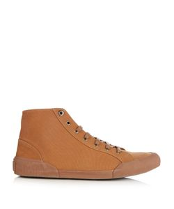 Lanvin | Distressed High-Top Canvas Trainers