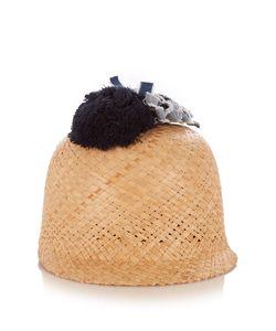 Federica Moretti | Raffia Pompom-Embellished Hat