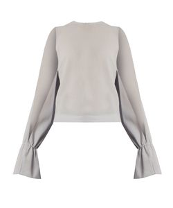 Osman | Petra Round-Neck Long-Sleeved Wool-Crepe Top