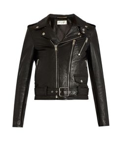 Saint Laurent   Blood Luster Cropped Leather Jacket