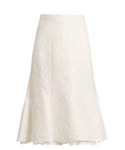 Oscar de la Renta | Floral-Cloqué Cotton-Blend Skirt