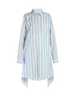 Balenciaga | Fold-Back Striped Shirtdress
