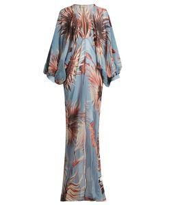 ADRIANA DEGREAS | Floral-Print Balloon-Sleeve Silk Maxi Dress