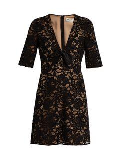 Saint Laurent   Deep V-Neck Guipure-Lace Mini Dress
