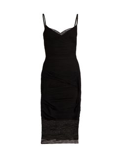 Versace   V-Neck Ruched Tulle Slip Dress