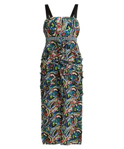 Saloni   Dana Butterfly-Print Ruffle-Trim Dress