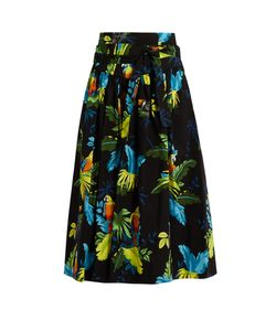 Marc Jacobs | Tropical Bird-Print Cotton-Blend Skirt