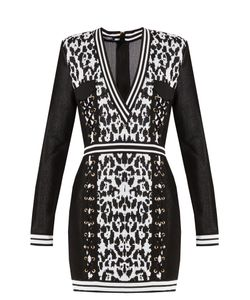 Balmain   Monochrome V-Neck Knitted Dress