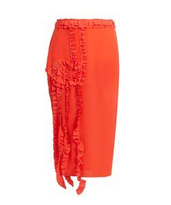 Rochas | Ruffle-Trimmed Silk Crepe De Chine Skirt