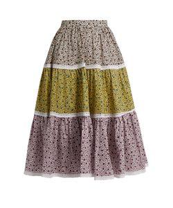 ANNA OCTOBER | Contrast-Print Cotton Skirt
