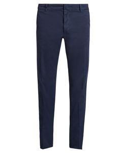 Valentino   Embellished Slim-Leg Cotton-Blend Trousers