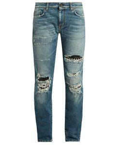 Saint Laurent | Stud-Embellishment Distressed Skinny Jeans