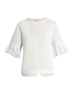 Muveil   Broderie-Anglaise Pleated-Cuff Cotton T-Shirt