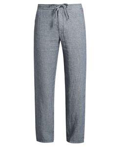 120 LINO   Drawstring-Waist Striped Linen Trousers