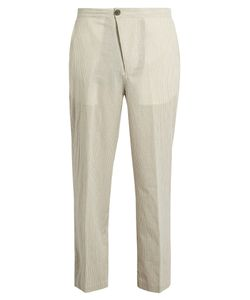 HELBERS   Straight-Leg Striped Cotton Trousers