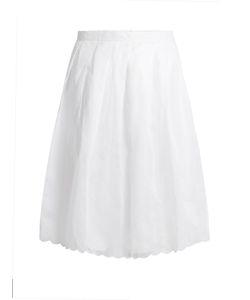 JUPE BY JACKIE | Spano Scalloped-Hem Cotton Midi Skirt
