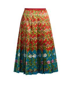 Gucci | -Print Pleated Silk-Satin Skirt
