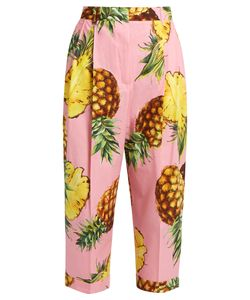 Dolce & Gabbana | High-Rise Pineapple-Print Cotton Trousers