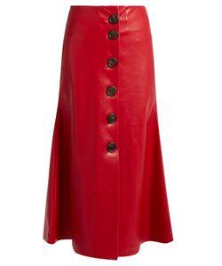 A.W.A.K.E. | Superfish Faux-Leather Midi Skirt
