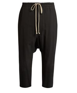 Rick Owens   Dropped-Crotch Cropped Cady Trousers