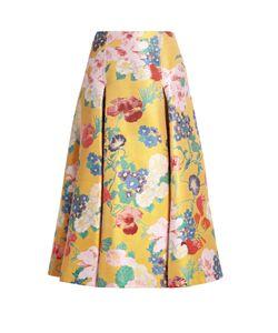 Valentino | -Brocade Pleated Silk-Blend Skirt