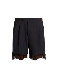 Kolor | Tulle-Underlayer Wool-Blend Shorts