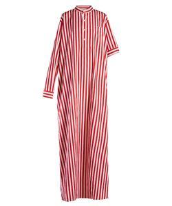 Balenciaga | Asymmetric-Sleeve Striped Maxi Dress