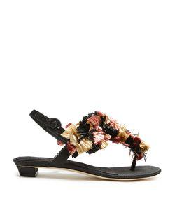 SANAYI 313 | Gongora Raffia-Embellished T-Bar Sandals