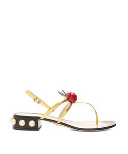 Gucci | Hatsumomo Cherry-Embellished Leather Sandals