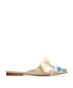 Delpozo | Point-Toe Embellished Raffia Backless Flats
