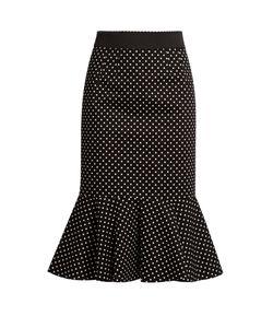Dolce & Gabbana | Polka-Dot Print Stretch-Cotton Midi Skirt