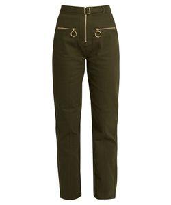 Self-Portrait | Utility Zip-Front Twill Trousers