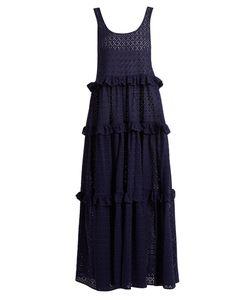 Lisa Marie Fernandez | Ruffle-Tie Broderie-Anglaise Cotton Maxi Dress