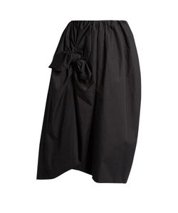 Simone Rocha | Knotted Gathe Cotton-Poplin Midi Skirt
