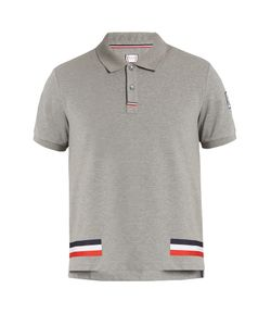 Moncler Gamme Bleu | Stripe-Print Cotton-Piqué Polo Shirt