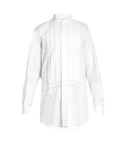 Burberry   Lace-Trimmed Bib-Front Cotton Shirt