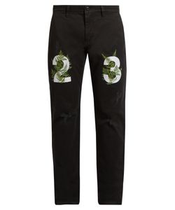 Off-White   Fern-Embroide Chino Trousers