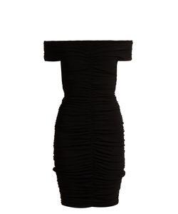 The Row   Hali Off-The-Shoulder Stretch-Crepe Mini Dress