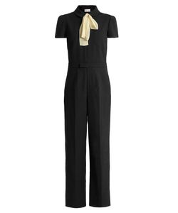 RED Valentino | Tie-Neck Wide-Leg Cady Jumpsuit