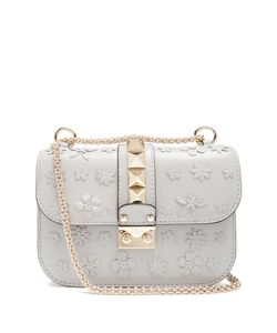 Valentino | Lock Small Flower-Embellished Leather Shoulder Bag