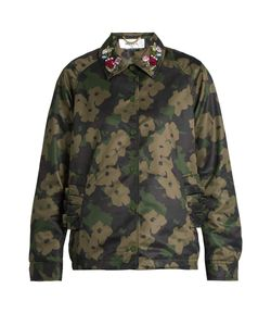 Muveil   Embellished-Collar Camouflage-Print Sateen Jacket