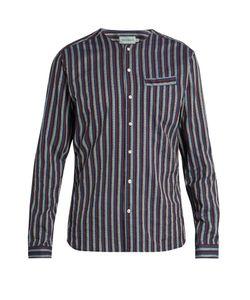 Oliver Spencer | Tarifa Collarless Cotton-Jacquard Shirt