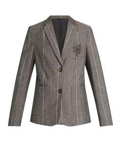 Brunello Cucinelli   Embellished Striped Wool And Linen-Blend Jacket