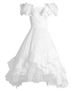 Natasha Zinko   Off-The-Shoulder Ruffle-Panelled Cotton Dress