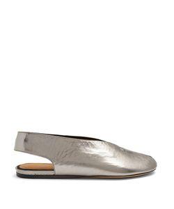 Isabel Marant | Malieke Crackled Leather Peep-Toe Flats